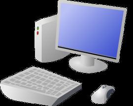 плоский монитор с клавиатурой и мышкой